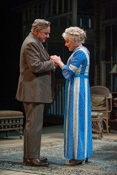 "Peter Michael Goetz (James Tyrone) and Helen Carey (Mary Cavan Tyrone) in the Guthrie Theater's production of ""Long Day's Journey into Night"". Photo by Michael Brosilow."