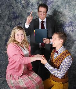 "Amanda Weis (Mary Lane), Garrick Dietze (Lecturer), and Kurt Bender (Jimmy) in ""Reefer Madness"". Photo by Laurie Etchen."