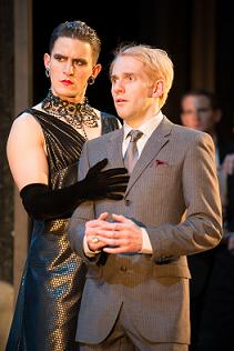 "Ben Allen (Olivia) and Joseph Chance (Viola) in Propeller's ""Twelfth Night"" at the Guthrie. Photo by Manuel Harlan."