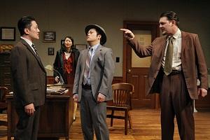 Kurt Kwan (Sam Shikaze), Sara Ochs (Nancy Wing), Eric Sharp (Capt. Kadota), and Brandon Ewald (Sgt. Mackenzie). Photo by Michal Daniel, 2013.