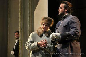 Craig Irvin as Mandryka, Elizabeth Futral as Zdenka, and Brian Jagde as Matteo. Photo by Michal Daniel.