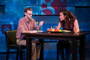 "Joe Bombard and Meghan Kreidler in ""The Sexual Life of Savages"". Photo by Dan Norman."