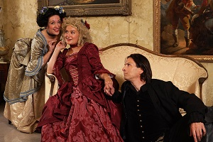 "Anna Hickey, Kate Guentzel, and John Middleton in ""The School for Lies""."