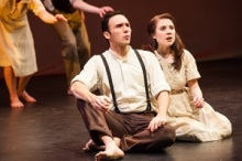"John Stone (Derek Lee Miller) and Ellie Stone (Adelin Phelps) in ""Ash Land."" Photo by Aaron Fenster."