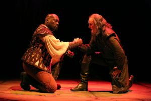 Peter Macon (Othello) and Stephen Yoakam (Iago) in the Guthrie Theater production of Othello. Photo by Joan Marcus