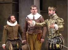Grant Fletcher Prewitt, Ian Gould, and Patrick Lane in The Acting Company/Guthrie Theater Production of Rosencrantz and Guildenstern are Dead. Photo by Will Sanderson