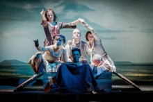 """Kathryn O'Reilly, Anna Tierney, Victoria Gee, Tom Andrews, Jessica Tomchak, and Sam Graham in """"Our Country's Good"""". Photo by Robert Workman."""