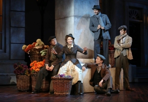 Helen Anker as Eliza Doolittle with Joel Liestman, Alex Gibson, Jared Oxborough and Joe Bigelow. Production photos by Joan Marcus