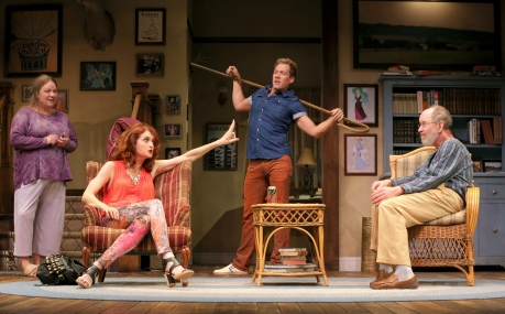Suzanne Warmanen (Sonia), Candy Buckley (Masha), Joshua James Campbell (Spike) and Charles Janasz (Vanya) in the Guthrie Theater's production of Vanya and Sonia and Masha and Spike. Photo by Joan Marcus, 2014.