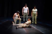 Ricardo Vazquez, Pedro R. Bayon, Rich Remedios, and Adlyn Carreras in Elliot, A Soldier's Fugue. Photo by Petronella J. Ytsma