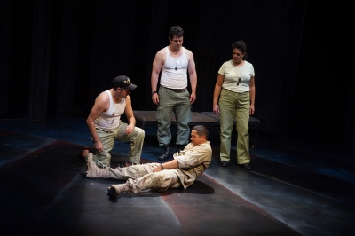 Ricardo Vazquez, Pedro R. Bayon, Rich Remedios, and Adlyn Carreras in Elliot, A Soldier's Fugue. Photo by Petronella J. Ytsma