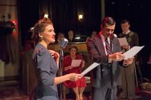 """Missy Hildebrandt, Sarah Frazier, Jordan Oxborough, and Brendan Veerman in """"Christmas in the Airwaves"""". Photo from www.lyricarts.org"""