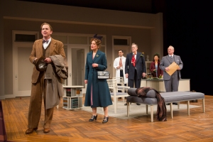 David Kelly (Elwood P. Dowd), Sally Wingert (Veta Louise Simmons), Ryan Shams (Dr. Sanderson), Steve Hendrickson (Dr. Chumley), Sun Mee Chomet (Myrtle Mae Simmons) and Michael J. Hume (Judge Omar Gaffney) in the Guthrie Theater's production of Harvey, by Mary Chase and directed by Libby Appel. Scenic design by William Bloodgood, costume design by Deborah M. Dryden, lighting design by Xavier Pierce. April 9 – May 15, 2016 on the Wurtele Thrust Stage at the Guthrie Theater, Minneapolis. Photo by T. Charles Erickson.