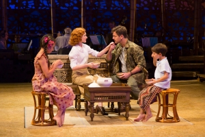 Louisa Darr (Ngana), Erin Mackey (Ensign Nellie Forbush), Edward Staudenmayer (Emile de Becque) and Sander L. Huynh-Weiss (Jerome) in the Guthrie Theater's production of South Pacific. Photo by T. Charles Erickson