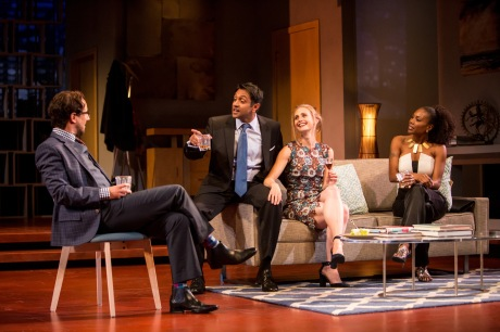 Kevin Isola (Isaac), Bhavesh Patel (Amir), Caroline Kaplan (Emily) and Austene Van (Jory) in the Guthrie Theater's production of Disgraced, directed by Marcela Lorca and written by Ayad Akhtar. Photo by Dan Norman.