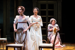 Alejandra Escalante (Marianne Dashwood), Jolly Abraham (Elinor Dashwood) and Suzanne Warmanen (Mrs. Dashwood) in the Guthrie Theater's production of Sense and Sensibility, Photo by Dan Norman.