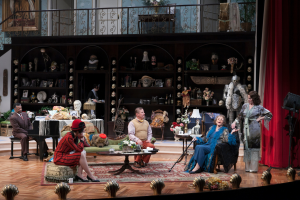 Shawn Hamilton (Oscar Wolfe), Angela Timberman (Kitty LeMoyne Dean), Bill McCallum (Herbert Dean), Elizabeth Franz (Fanny Cavendish) and Michelle O'Neill (Julie Cavendish) in the Guthrie Theater's The Royal Family. Photo by Heidi Bohnenkamp.