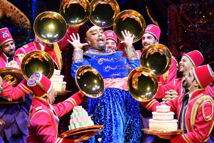 S2 Friend Like Me 2. Anthony Murphy (Genie) and Original Cast of Aladdin North American Tour. Photo by Deen van Meer